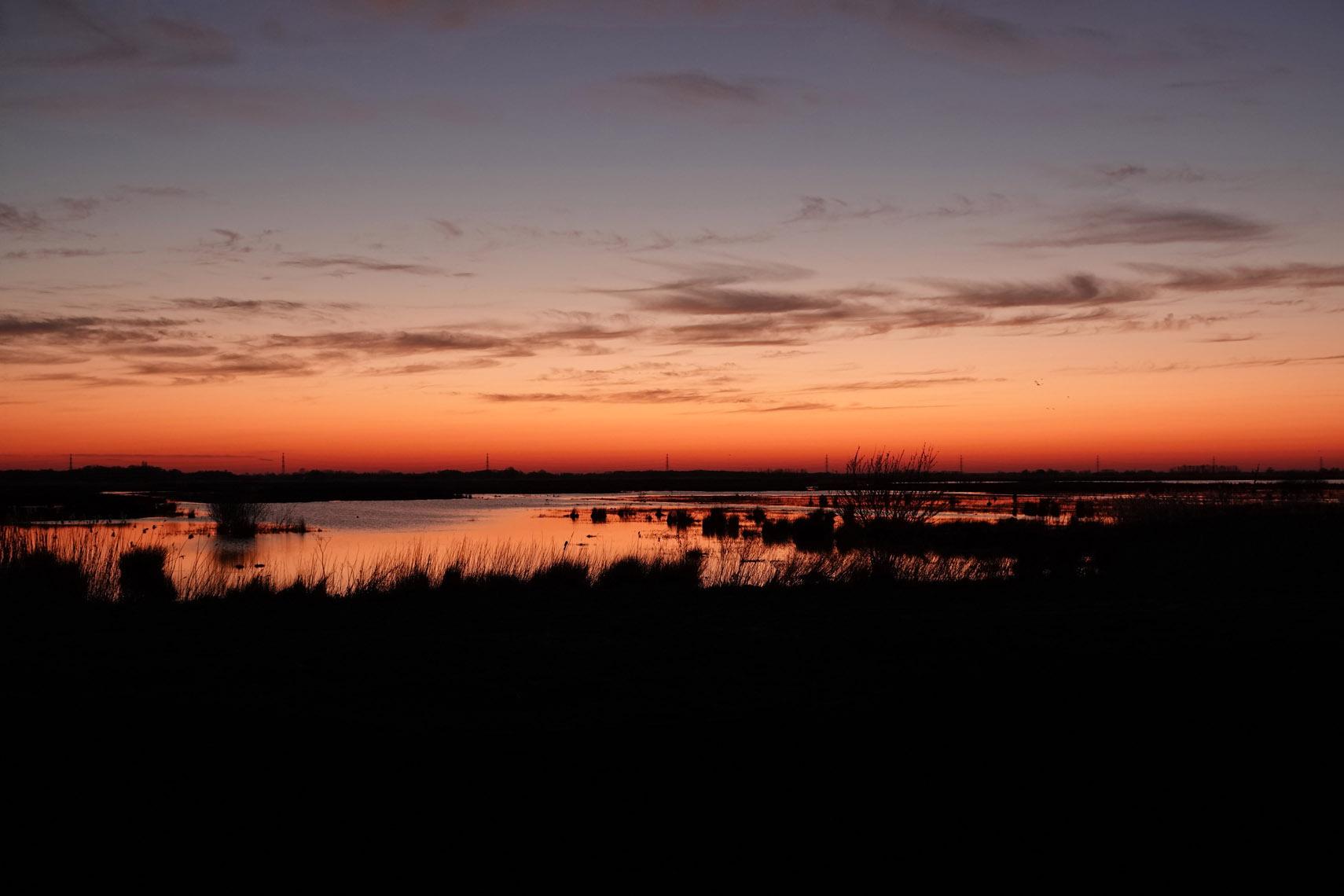 Zonsondergang boven Eelderdiep (Onlanden)